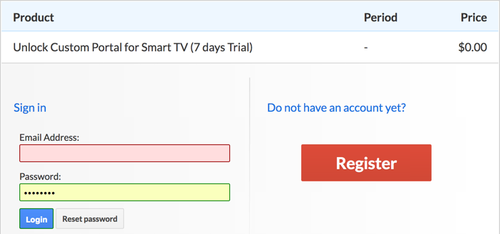 Smart STB registration page