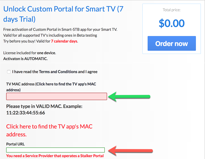 Smart stb activation page